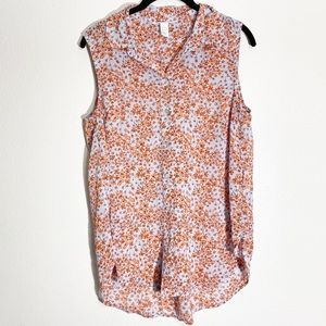 H&M Floral Sleeveless Button-Up Collared Blouse